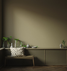 Wall, frame mock up in dark minimalist interior close up, 3d render