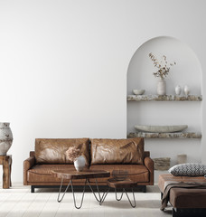 Foto op Canvas Boho Stijl Wall mock up in Scandi-boho home interior with retro brown leather furniture, 3d render