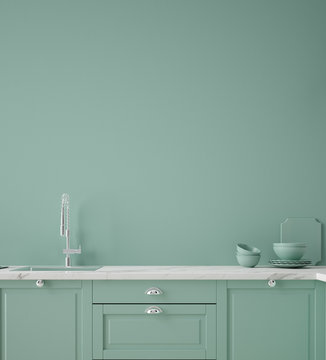 Kitchen in neo mint color, wall poster mock up, 3d render