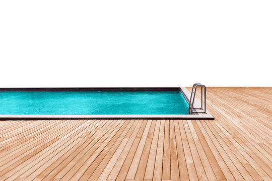 Swimming pool with wooden deck and stainless stair.
