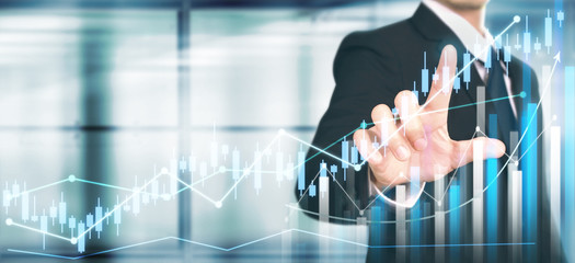 Businessman plan graph growth increase of chart positive indicators in his business Wall mural