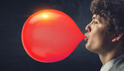Guy blowing bubble . Mixed media