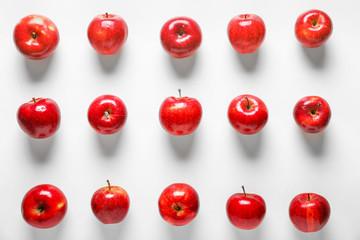 Fresh ripe apples on white background
