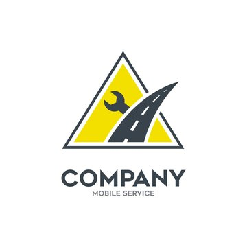 Mobile emergency service logo in yellow triangle shape