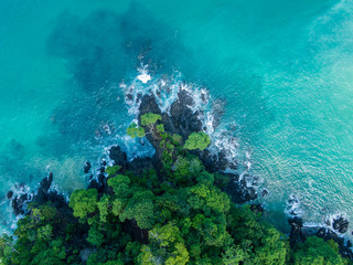 Beautiful aerial view of a magestic Beach in Costa Rica