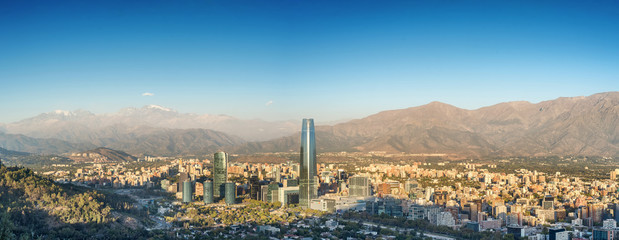 Panorama of Santiago, Chile with the Andes mountains as a backdrop, as seen from Cerro San Cristobal