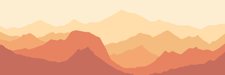 Fantasy on the theme of the morning landscape, sunrise in the mountains, panoramic view, vector illustration Fotomurales