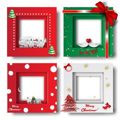 Merry Christmas and Happy new year border frame photo design set on transparency background.Creative origami paper cut and craft style.Holiday decoration gift card.Winter season vector illustration
