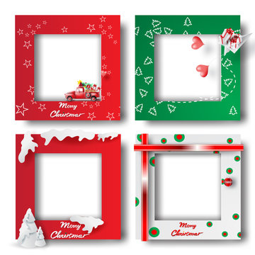 Merry Christmas and Happy new year border frame photo design set on transparency background.Creative origami paper cut and craft style.Holiday decoration gift card.Winter Postcard vector illustration