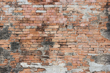 Dirty old weathered Brick surface wall texture background.