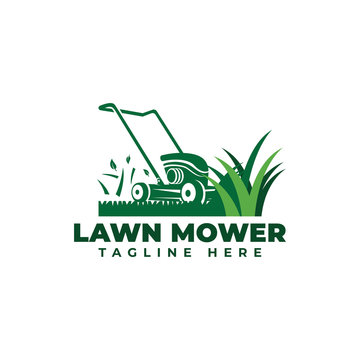 Lawn Mower Logo Vector Icon Illustration