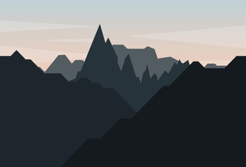 Poster Gray traffic Flat landscape with mountains and sky vector. Nature landscape vector illustration.