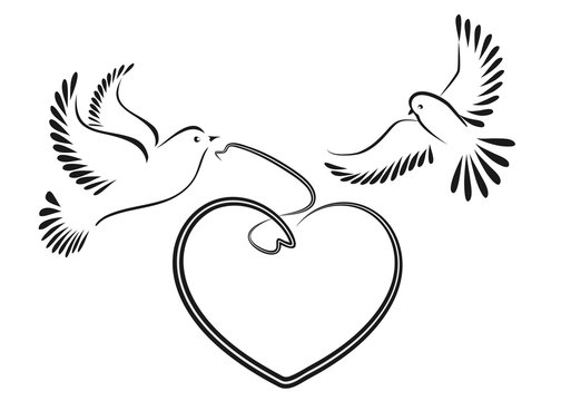 Dove symbolizing love and peace. Vector illustration.