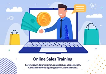 Online Sales Business Training, Seminar or Lecture Trendy Flat Vector Advertising Banner, Promo Poster Template. Successful Businessman Offers to Buy Online Course Videos to Improve Sales Illustration