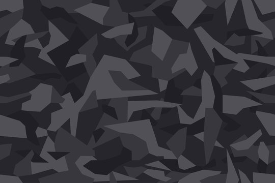 Geometric camouflage seamless pattern. Abstract modern camo, black  modern military texture background. Vector illustration.