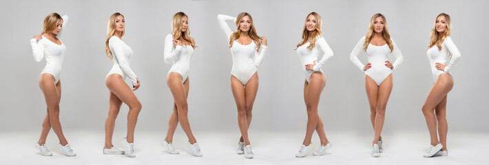 Young, fit and sexy girl in white swimsuit. Beautiful woman posing in studio. Collection collage.