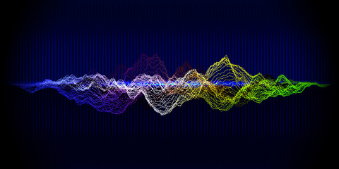 Music equalizer abstract background. Grid color waveform on blue background.