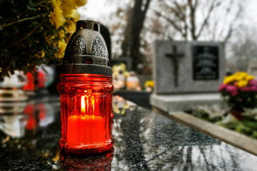 KRAKOW, POLAND - NOVEMBER 01, 2019: Rakowicki Cemetery, one of the best known cemeteries of Poland Fototapete