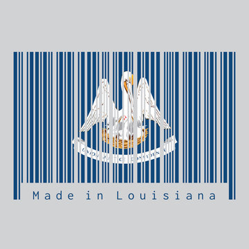 Barcode set the color of Louisiana flag, the states of America. text: Made in Louisiana. Concept of sale or business.
