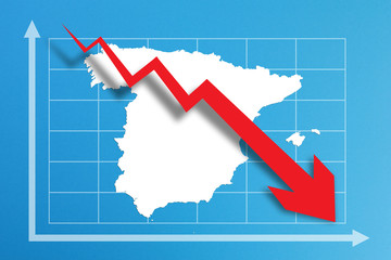 Financial crisis with Spain map on business chart
