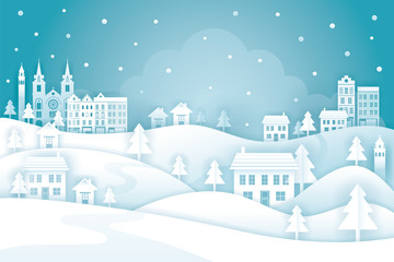 Town or City in Winter Background, Paper Cutting, Origami Style