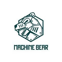 iron steel machine Bear robot logo design badge