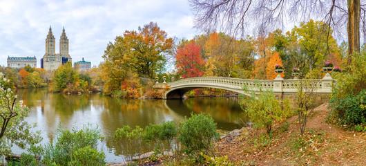Fototapete - New York City Central Park fall autumn foliage Bow Bridge