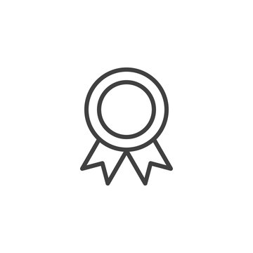 Award medal line icon. linear style sign for mobile concept and web design. Medal with ribbon outline vector icon. Symbol, logo illustration. Vector graphics