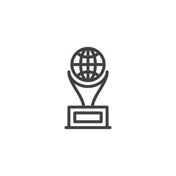 World award cup line icon. linear style sign for mobile concept and web design. World globe Trophy cup outline vector icon. Symbol, logo illustration. Vector graphics