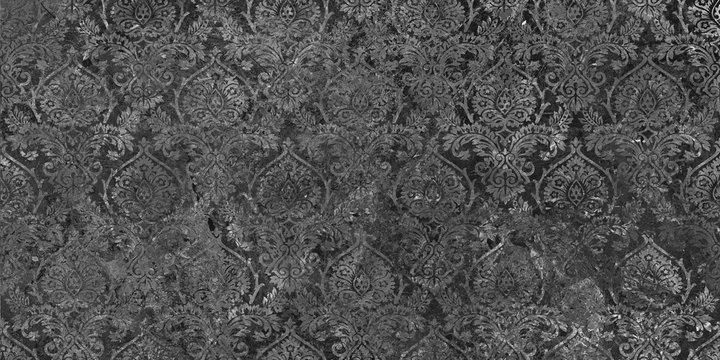 Damask design on the black marble background