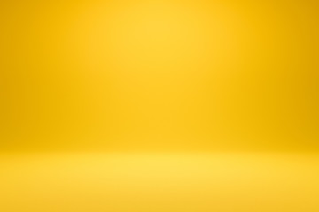 Empty yellow background and spotlight with studio for showing or design. Blank backdrop made from cement material. Realistic 3D render.