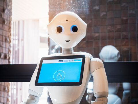 Pepper Robot Assistant with Information screen Japan Humanoid technology communication with people YAMANASHI, JAPAN - APR 11, 2018
