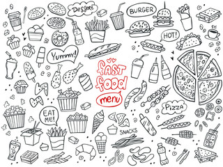 Set of fast food doodles on white. Vector illustration. Perfect for menu or food package design.