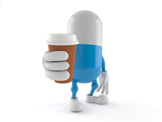 Pill character holding coffee cup
