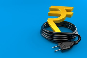 Rupee currency symbol with electric plug