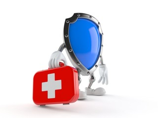 Protective shield character holding first aid kit
