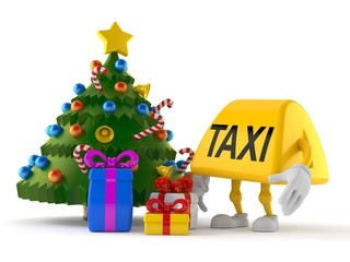 Taxi character with christmas tree and gifts