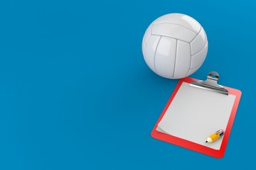 Volleyball with blank clipboard