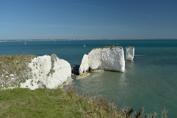 View over the cliffs and rock formations of Old Harry Rocks on Dorset coast