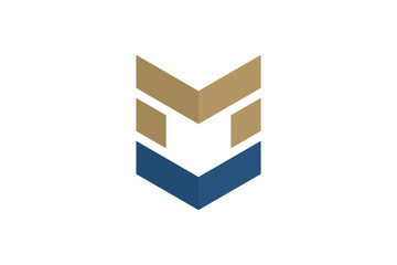 Shield Arrow Security Logo Letter M Military
