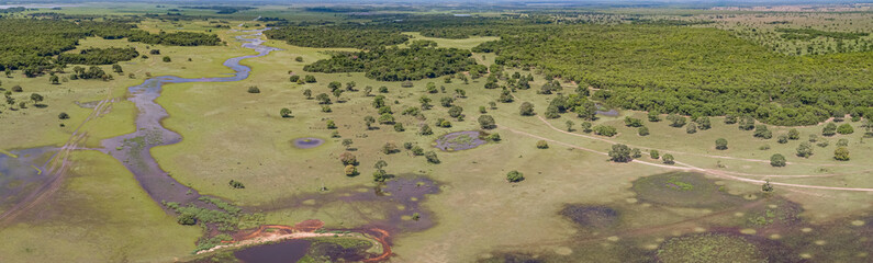 Aerial panorama of typical Pantanal Wetlands landscape with lagoons, rivers, meadows and forests, Mato Grosso, Brazil