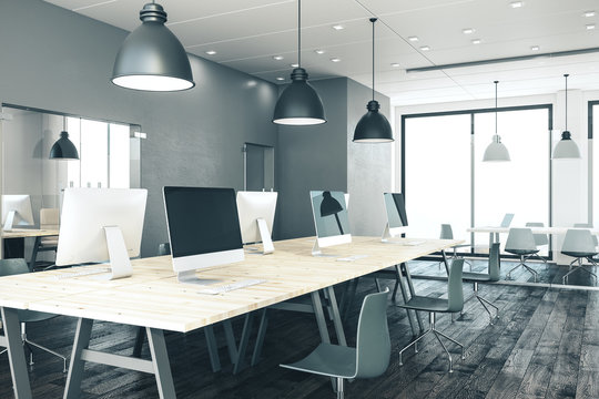 office interior with panoramic city view