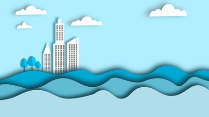 Blue city, eco, saving the world and environment concept, landscape, art, paper, blue style, Stock Vector & Stock Photos |