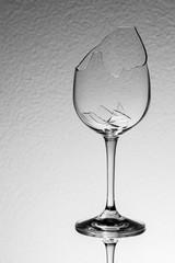 Broken wine glass full shot