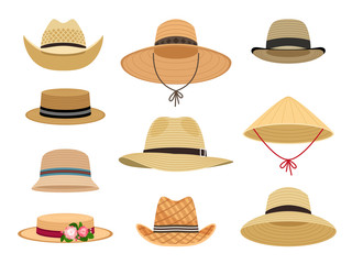 Farmers gardening hats. Asian japan hat and and female straw cap, yellow beach head accessory and summer traditional agriculture rural headdress isolated on white background Wall mural