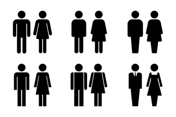 Restroom door pictograms. Woman and man public toilet vector signs, female and male hygiene washrooms symbols, black ladies and gentlemen wc restroom ui Wall mural