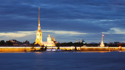 Peter and Paul fortress at night, on Neva, Saint-Petersburg, Russia