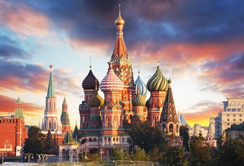 Door stickers Moscow Moscow, Russia - Red square view of St. Basil's Cathedral at sunrise, nobody