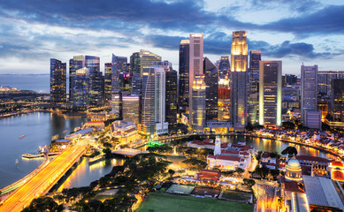 Wall Mural - Panoramic image of Singapore skyline at night.