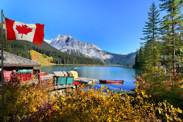 Wall Mural - Canadian flag with Emerald Lake,Yoho National Park in Canada